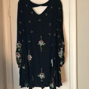 Boho Black Dress with embroidery.